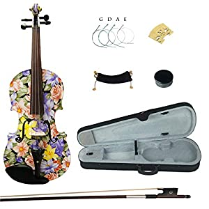 Kinglos 4/4 Purple Pink Flower Colored Ebony Fitted Solid Wood Violin Kit with Case, Shoulder Rest, Bow, Rosin, Extra Bridge and Strings Full Size (LY1101) 51ekX4Q4DyL