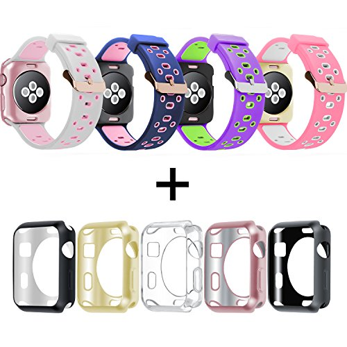 Oitom 38mm Soft Breathable Silicone Replacement Wristband Straps with Plated TPU Protective Case for Apple Watch Nike+,Series 1,Series 2,Sport,Apple Watch Edition M/L Size