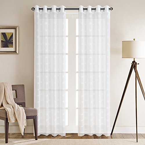 Panel 84l (Linen Blended Sheer Curtain Ombre Curtains Window Treatment Energy Saving Privacy Protection Rod Pocket Window Curtain Home Decorative, Sold in Pair (52