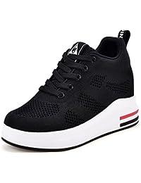 Womens Hidden Wedges High Top Sneakers Height Increase...
