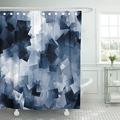 TOMPOP Shower Curtain Gray Abstract White and Navy Blue Cubes Scraps Waterproof Polyester Fabric 72 x 72 Inches Set with Hooks