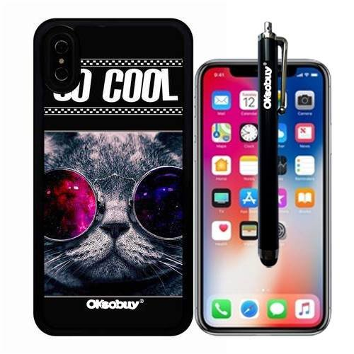 iphone X Case, So Cool Glasses Cat Case, OkSoBuy Ultra Thin Soft Silicone Case for Apple iphone X - So Cool Glasses - Face On Glasses My See