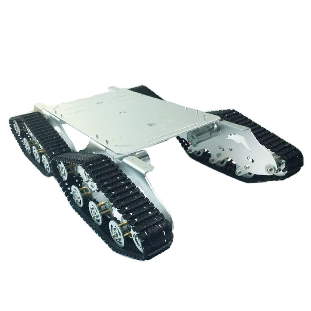 P Prettyia ミニ タンク シャシ一 クローラ スマートロボット 12Vギアモーター付き 衝撃吸収 シルバー B07NBSDDLT