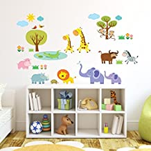 Decowall DW-1508 Patched Jungle Kids Wall Decals Wall Stickers Peel and Stick Removable Wall Stickers for Kids Nursery Bedroom Living Room