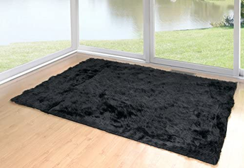 Glamour Home Faux Sheepskin Silky Flokati Fur Shaggy Area Rug 5×8, Black