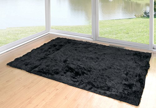 Glamour Home Faux Sheepskin Silky Flokati Fur Shaggy Area Rug (5x8, Black)