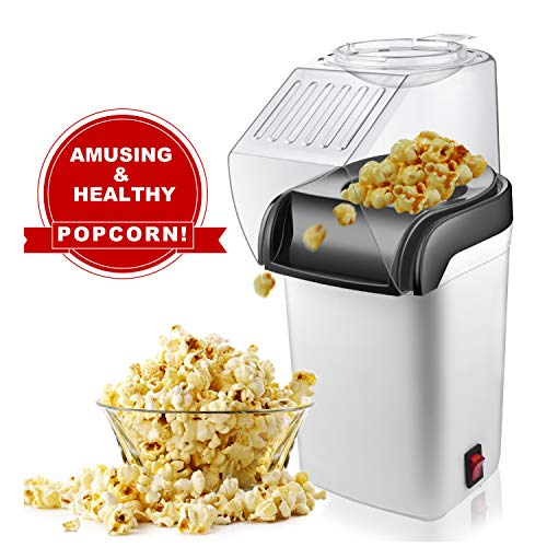 Review M-MASTER Popcorn Machine, Hot Air Popcorn Popper with Wide Mouth Design, Oil-Free, Electric...
