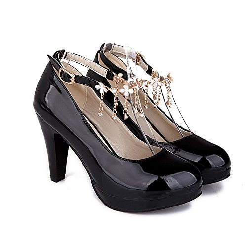 Odomolor Women's Buckle PU Round Closed Toe High-Heels Solid Pumps-Shoes with Charms Black 6AvpyvGn9J
