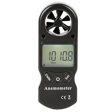 Anemómetro Digital 8 en 1 Barómetro Altímetro Temperatura Humedad Anemómetro Informe Termómetro (Color : Negro