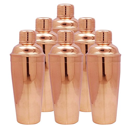 6 Pcs 750 ML Copper Cocktail Shaker Bartender Accessories Drink Mixer Hotelware by ibaexports