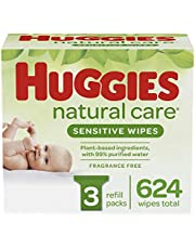 Baby Wipes, Huggies Natural Care Sensitive, UNSCENTED, Hypoallergenic, 3 Refill Packs, 624 Count