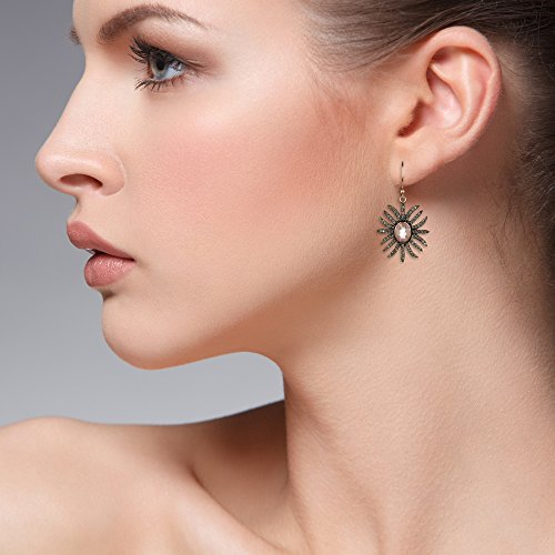Diamond Sunburst Earring Rose Quartz