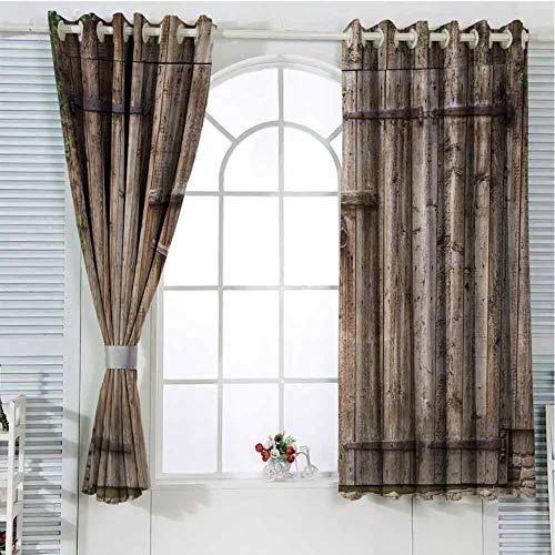 FreeKite Rustic Patio Door Curtains for Bedroom Old Oak Closed Garage Door with Steel Hinges Vintage Typical Cottage Doorway Image Thermal Insulated Noise Reducing W96 x L84 Inch Tortilla (Doors Patio Oak External)