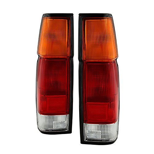 VIPMOTOZ For 1986-1997 Nissan D21 Pickup OE-Style Red Amber Lens Tail Light Housing Lamp Assembly Replacement Driver & Passenger Side ()