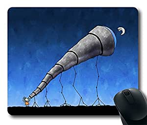 Comfortable Mouse Pad Printed On Look At The Moon Cartoon Telescope Durable Game Mouse Pad