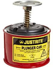 """Justrite 10008 1 Pint, 5.25"""" H, 4 7/8"""" O.D, Premium Coated Steel Plunger Can with Brass and Ryton Pump Assembly"""