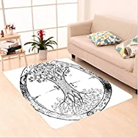 Nalahome Custom carpet on Retro Celtic Tree Image with Mandala Round Cycle of Life Spiritual Universe Theme Black White area rugs for Living Dining Room Bedroom Hallway Office Carpet (5 X 7)