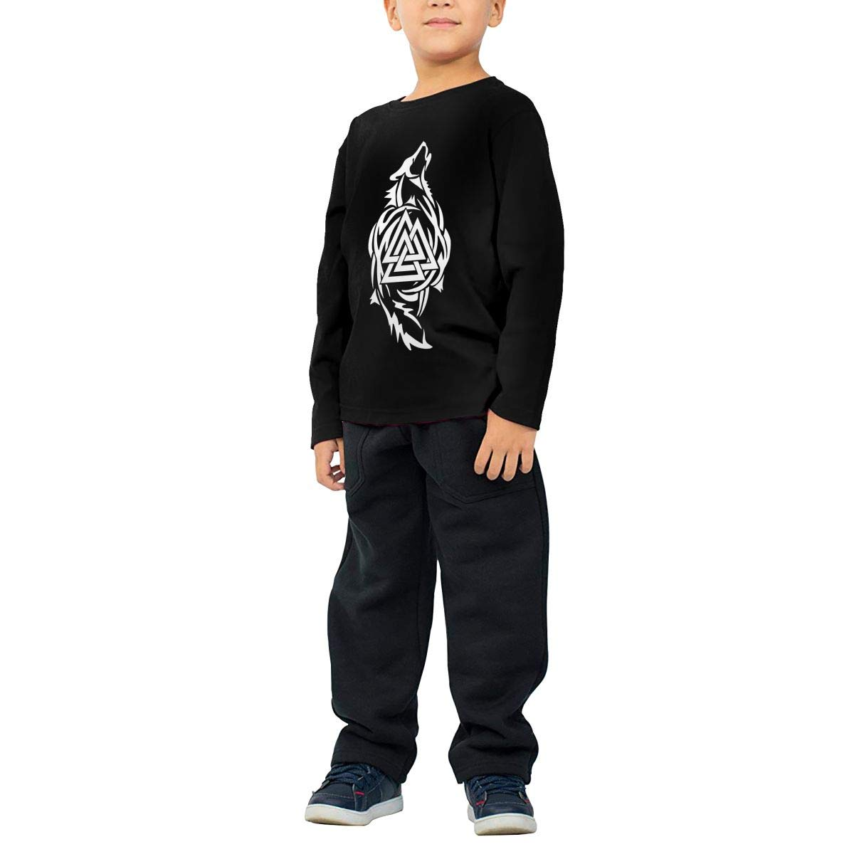 Odin Thor Viking Tribal Norse Wolf Valknut Boys Cotton Long Sleeve Tshirt