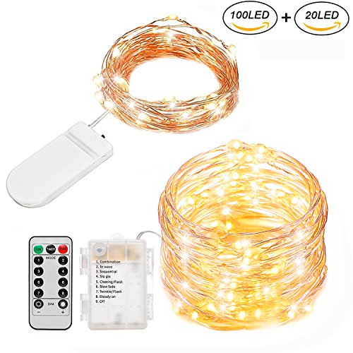 LED String Lights 33ft 100LED+6.6ft 20LED Battery Operated Firefly Lights Waterproof Copper Wire with Remote&Timer, Great for Outdoor/Indoor Patio Wedding Xmas Kids Girls Bedroom Decor(Warm White)