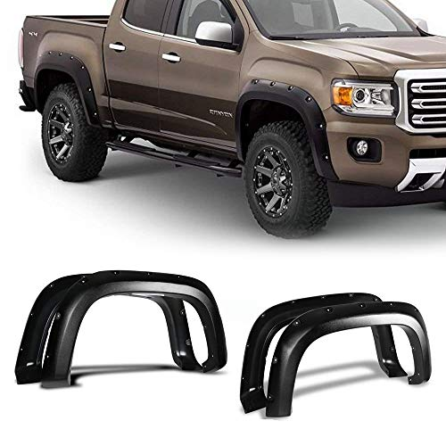Fender Flares Fits 2015-2018 CHEVY COLORADO | Pocket-Riveted Style Textured Black ABS Front Rear Right Left Wheel Cover Protector Vent by IKON MOTORSPORTS