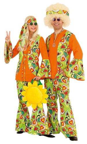 Damenkostüm Hippiekostüm Flower Power Luxus Karnevalkostüm Fasching Gr 48