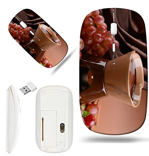 Luxlady Wireless Mouse White Base Travel 2.4G Wireless Mice with USB Receiver, 1000 DPI for notebook, pc, laptop, computer, macdesign IMAGE ID 25128503 Chocolate fondue with fruits on brown background