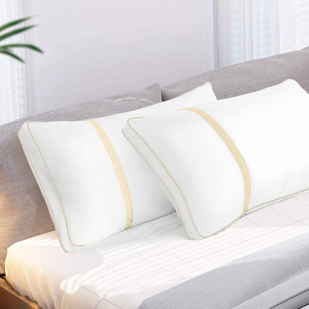 BedStory Pillows for Sleeping 2 Pack Queen Size, Hotel Quality Bed Pillow, Down Alternative Sleep Pillows with Ultra Soft Fiber Fill, Good for Back and Side Sleepers - Creamy Yellow