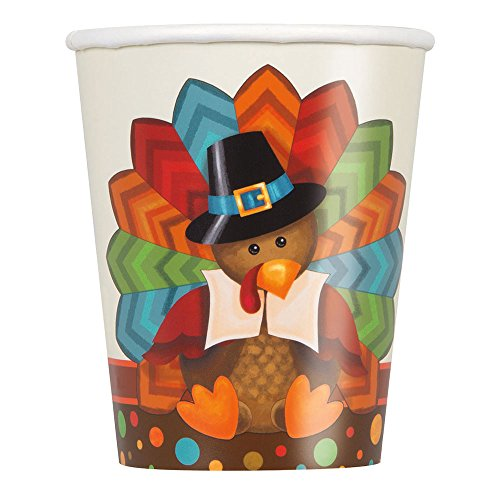 - 9oz Cute Turkey Thanksgiving Party Cups, 8ct