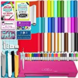 Silhouette Glitter Pink Cameo 3 Bluetooth Starter Bundle with 36 12x12 Oracal Sheets, Siser Easyweed T-Shirt Vinyl, Membership, Transfer Paper, Guide, Class, 24 Sketch Pens