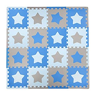 Tadpoles Baby Play Mat, Kid's Puzzle Exercise Play Mat – Soft EVA Foam Interlocking Floor Tiles, Cushioned Children's Play Mat, 16pc, Stars, Blue/Grey, 50x50