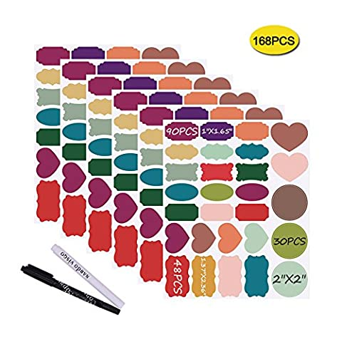 Nardo Visgo Colored Chalkboard Labels: 168 Premium Stickers + 2 Chalk Markers-Waterproof Removable Reusable Chalkboard (4 Round Etichette)