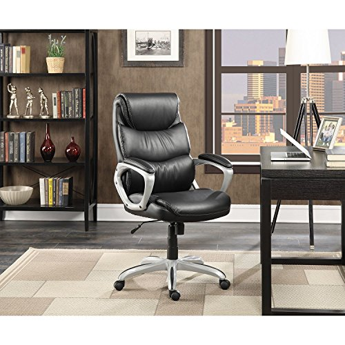 Serta leather manager s office chair black home and for Home office chairs leather