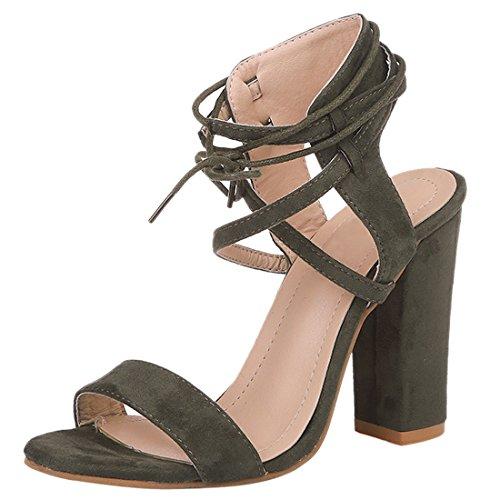 Donne Cinturino Alla Caviglia Open Toe Sandali Con Tacco Alto Blocco Tacco Estate Pompe Scarpa Verde Militare