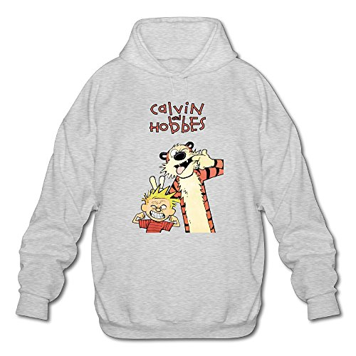 PHOEB Mens Sportswear Drawstring Hooded Sweatshirt,daily Comic Strip Ash Large