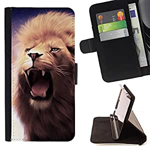Jordan Colourful Shop - lion roar fangs teeth mane purple yawn For LG G3 - < Leather Case Absorci????n cubierta de la caja de alto impacto > -