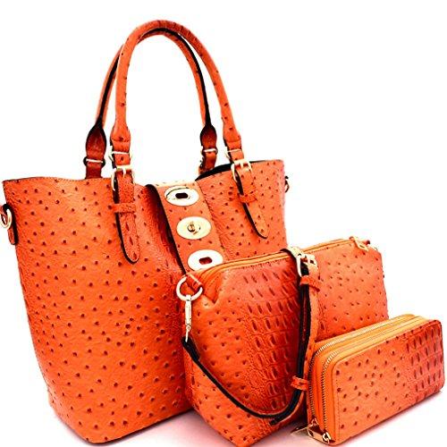 Le Miel 3pc Ostrich Embossed Set- Bucket Tote w/Strap + Crossbody + Wallet (Orange)
