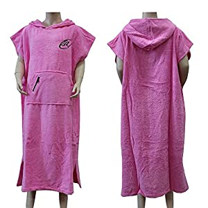 Lightahead Cotton Surf Beach Hooded Poncho Changing Bath Robe Towel with Pocket (Blue) (Teen Plus)
