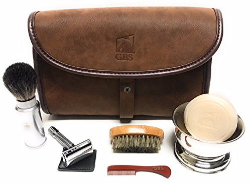 GBS Men's Deluxe Dopp Travel Shaving Set - Comes with Travel Shaving Brush, Shaving Bowl, Soap, Butterfly Double Edge Safety Razor with Head Sleeve Case & Beard Combs