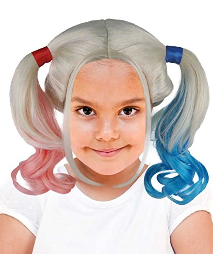 Halloween Party Online Female Super Villain Double Ponytail Wig, Pink/Blue Kids (Suicide Squad Margot Robbie Costume)