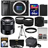 Sony Alpha A6000 Wi-Fi Digital Camera Body with 50mm f/1.8 OSS Lens + 64GB Card + Case + Battery + Tripod + Tele/Wide Lens Kit