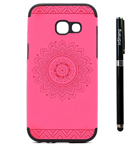 inShang Funda para Samsung Galaxy A3(2017) suave TPU Carcasa Cajas Soporte Skin case cover Para Galaxy A3(2017) + clase alta 2 in 1 inShang marca negocio Stylus pluma Rose printing