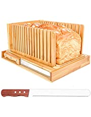 Bread Slicer Cutting Guide with 2 Knives Bamboo Bread Cutter for Homemade Bread Adjustable, Compact, Foldable and Customizable Loaf Cakes Bagel Slicer with Crumb Tray