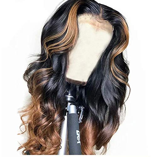 (QUINLUX WIGS 150% Density Body Wave Lace Front Human Hair Wigs Ombre Color 1BT30 Glueless Brazilian Human Hair Front Lace Wig With Highlight (18 Inch, Lace front wig))