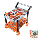 Durable Kids Tool Set with Electronic Cordless Drill and 41 Pretend Play Construction Accessories, with a cart