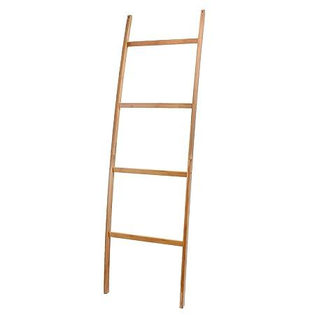ZRI Bamboo Escalera – Toallero estante con 4 barras, Super elegante perchero para cuarto de baño salón, bambú/natural marrón