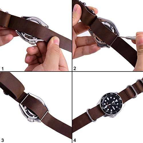 Ritche Genuine Leather NATO strap 20mm Rich Brown Replacement timex weekender watch band Photo #6