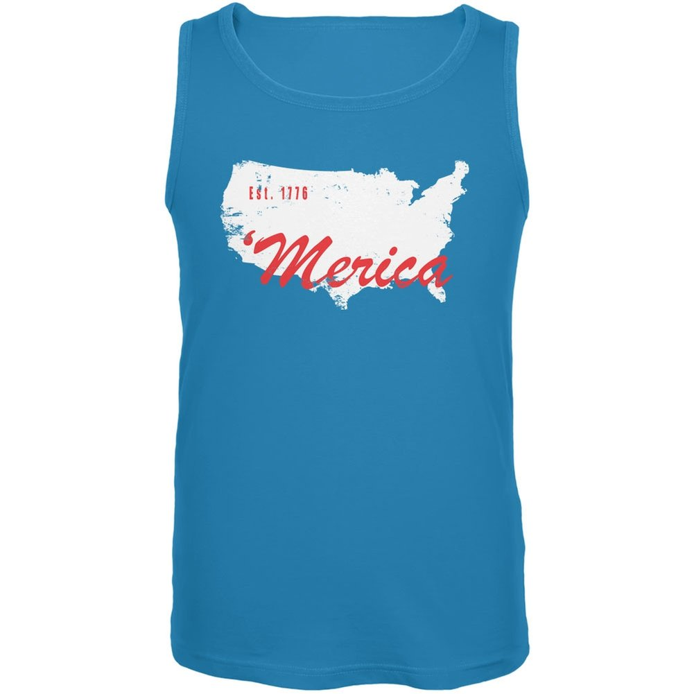Old Glory 4th of July Merica Est 1776 Turquoise Adult Tank Top