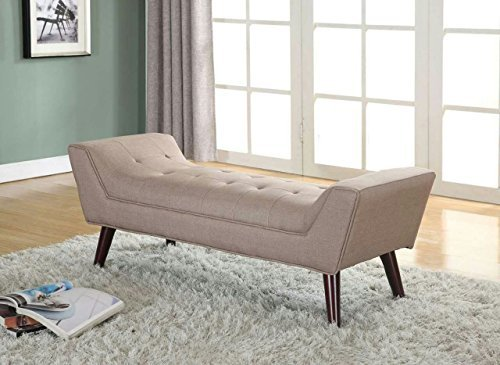 Home Life Curved Foot Bench with Tufted Accents Textured Linen Fabric with Wooden Legs, ()