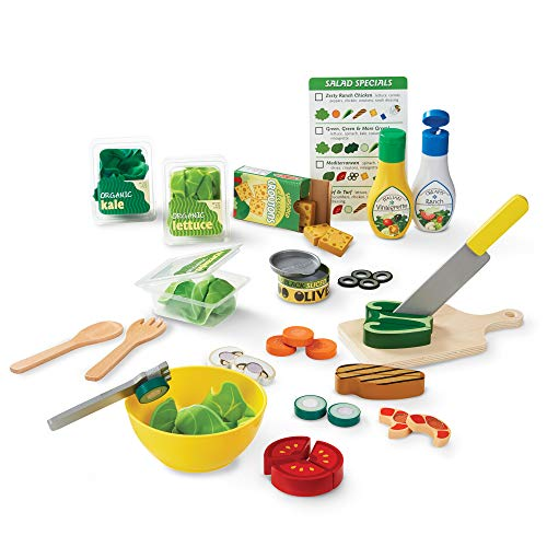 Melissa amp Doug Slice amp Toss Salad Set Pretend Play SelfStick Tabs Reusable DoubleSided Menu 52 Pieces 12″ H × 16″ W × 35″ L Great Gift for Girls and Boys  Best for 3 4 5 Year Olds and Up