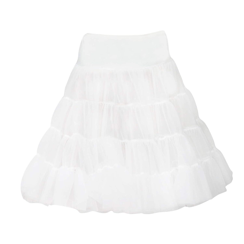 I.C. Collections Big Girls White Bouffant Half Slip Petticoat Tea Length, 10 000509-WHC